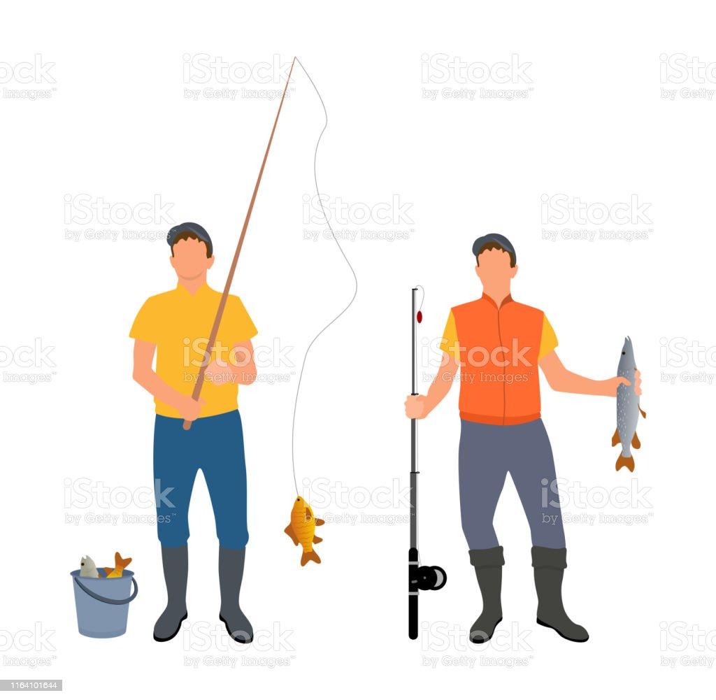 魚を一緒に捕まえる人ベクトルイラスト - つかまえるのベクターアート ...
