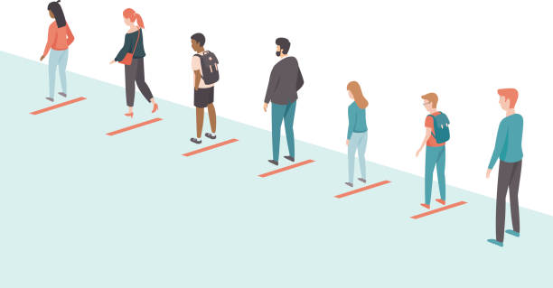 People ceeping distance in the queue. Social distancing concept for coronavirus COVID-19 outbreak vector art illustration