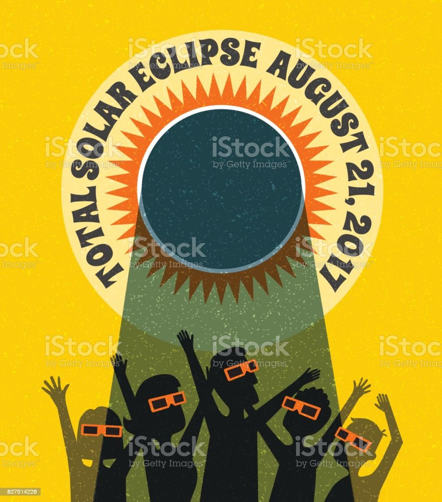 people celebrate watching the solar eclipse with protective glasses.  web banner, card or poster. vector illustration. vector art illustration