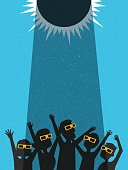 People celebrate watching the solar eclipse with protective glasses. poster template, web banner, or card. retro vector illustration.