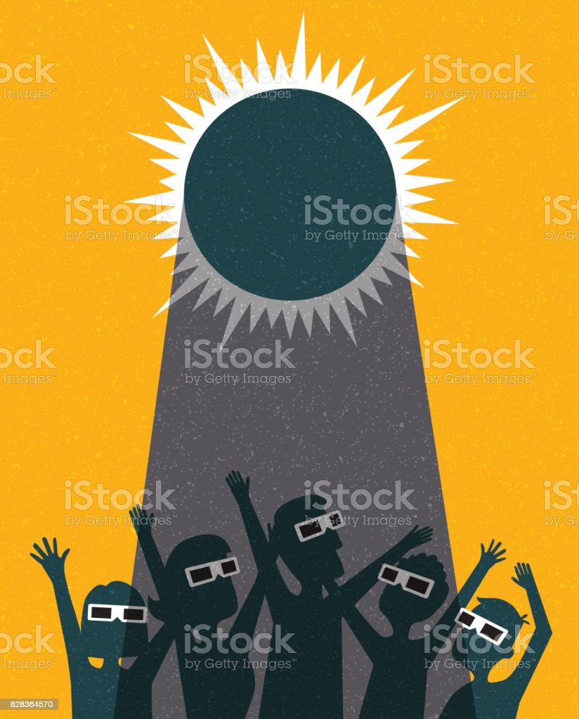People celebrate watching the solar eclipse with protective glasses. poster template, web banner, or card. retro vector illustration. vector art illustration