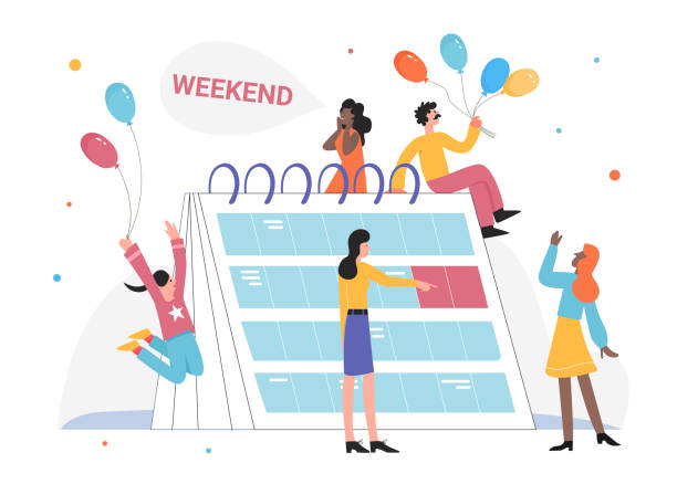 People celebrate weekend vector illustration, cartoon flat tiny happy employee characters celebrating end of working week isolated on white People celebrate weekend vector illustration. Cartoon flat tiny happy employee, office worker characters with colorful balloons in hands celebrating end of working week party concept isolated on white holiday calendars stock illustrations