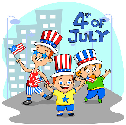 People Celebrating 4th Of July Stock Illustration - Download Image Now