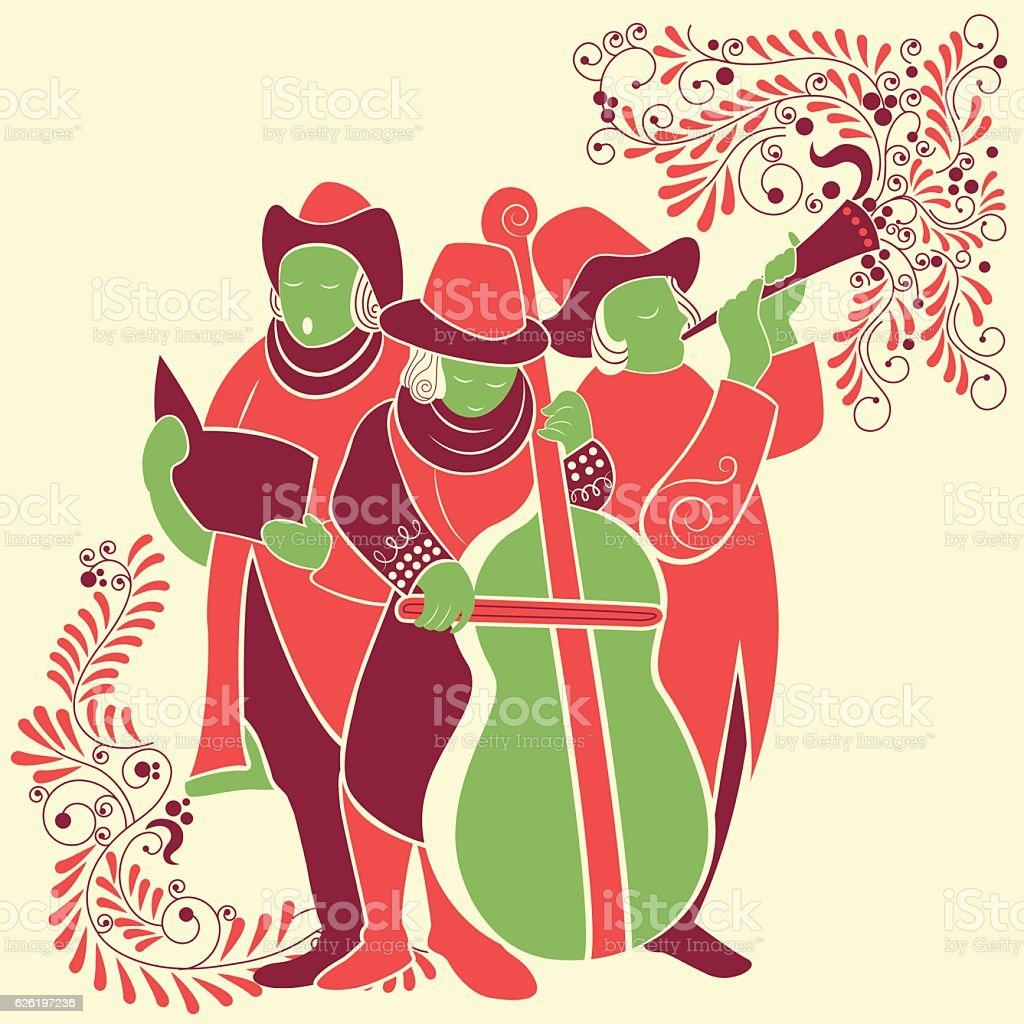 People celebrating and singing carol for festival Merry Christmas holiday vector art illustration