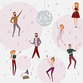 People celebrating background. Laughing and dancing young people at party. Funny cartoon style icons collection with men and women