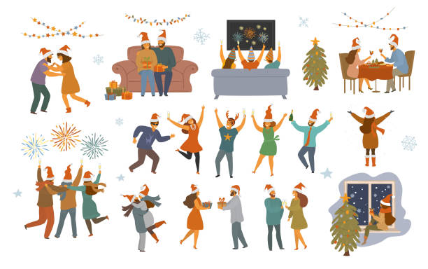 people celebrating christmas and happy new year night, isolated  vector illustration graphic scenes set people celebrating christmas and happy new year night, isolated  vector illustration graphic scenes set christmas family stock illustrations