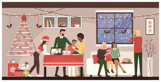 People celebrating Christmas at home People celebrating Christmas together at home: family connecting with mobile devices and a laptop, homosexual couple with their son posing for a picture and sweets on the table christmas family stock illustrations