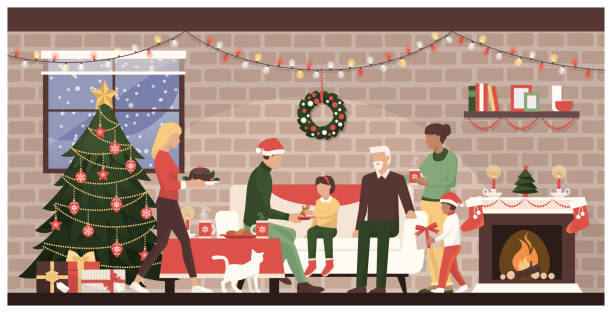 People celebrating Christmas at home People celebrating Christmas together at home: traditional family with kids eating sweets next to the fireplace and decorated Christmas tree christmas family stock illustrations