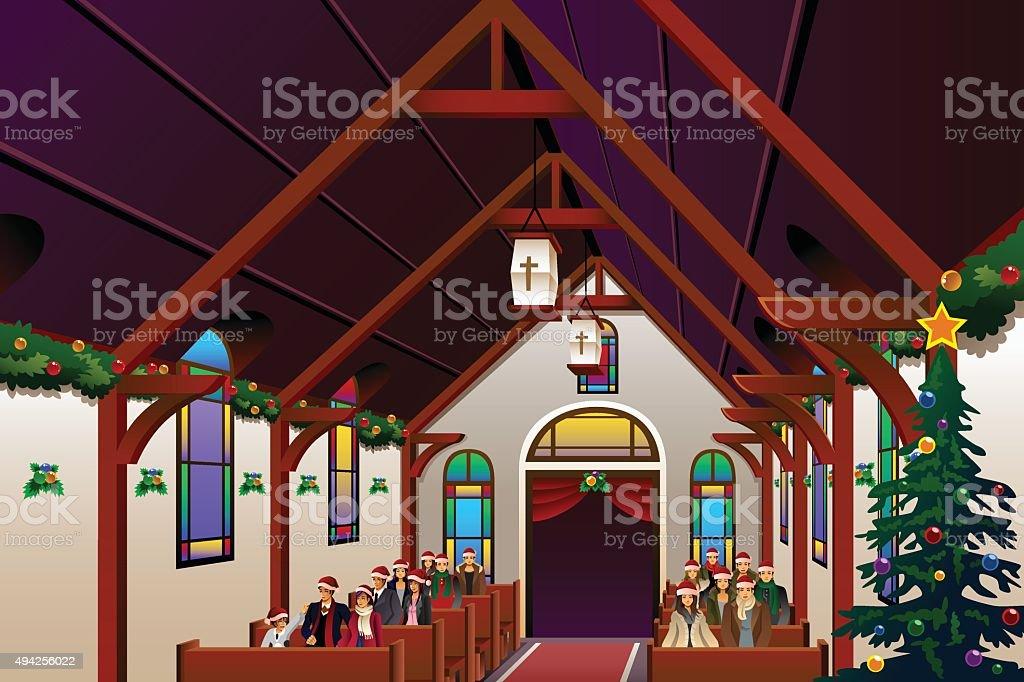 People Celebrating Christmas Eve Inside the Church vector art illustration