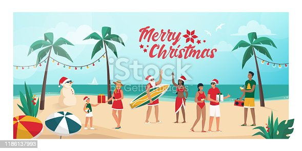 istock People celebrating Christmas in the southern emisphere 1186137993