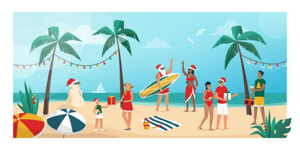 People celebrating Christmas in the southern emisphere People celebrating Christmas on summer in the southern hemisphere, they are partying on the beach and exchanging gifts australian christmas stock illustrations