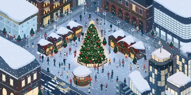menschen, die weihnachten feiern - weihnachtsmarkt stock-grafiken, -clipart, -cartoons und -symbole