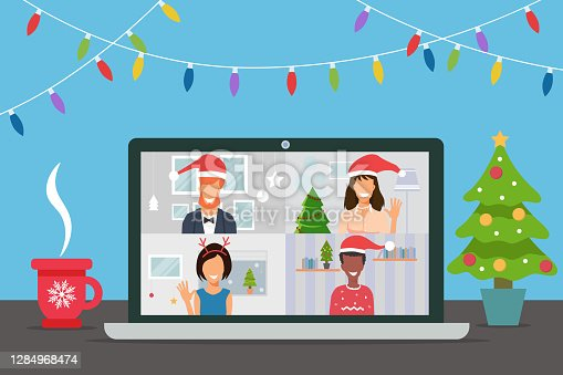 Video conference with people group in winter costumes, meeting online. Friends talking on video and celebrating Christmas. New normal and covid-19 concept. Flat design vector illustration
