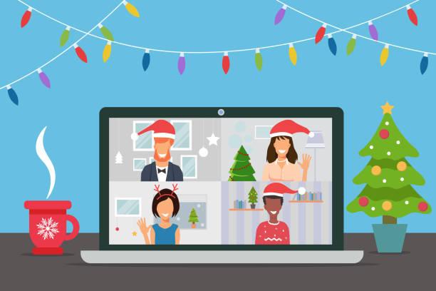 stockillustraties, clipart, cartoons en iconen met mensen die kerstmis met behulp van webcam en online vergadering thuis in isolatie vieren - vakantie