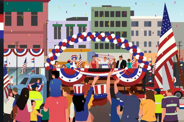 bildbanksillustrationer, clip art samt tecknat material och ikoner med människor firar fjärde juli paraden illustration - parad