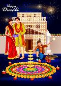 easy to edit vector illustration of people celebrating Happy Diwali holiday India background