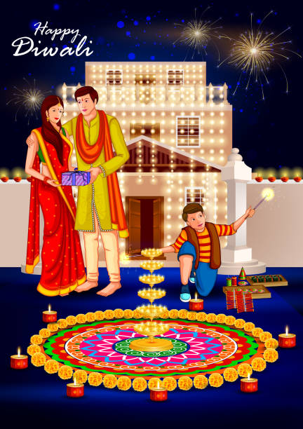 People celebrating Happy Diwali holiday India background easy to edit vector illustration of people celebrating Happy Diwali holiday India background indian family stock illustrations