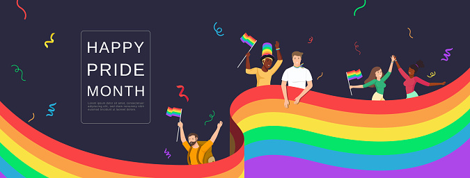 LGBTQ people celebrating happy pride month with colorful rainbow flags on banner background
