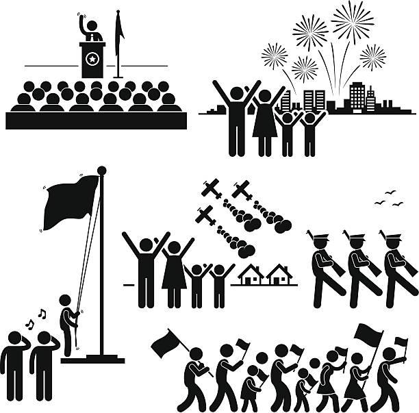 bildbanksillustrationer, clip art samt tecknat material och ikoner med people celebrating national day independence patriotic holiday pictogram - parad