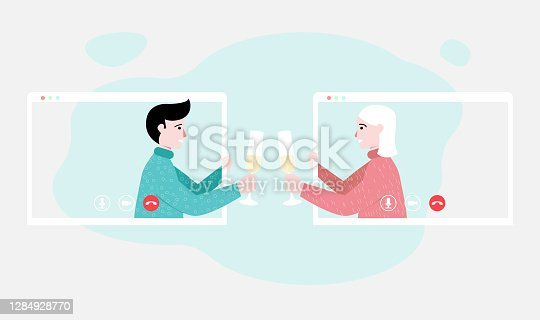 istock People celebrating the New Year or Christmas online. Virtual meeting with friends. New reality, stay home. Flat vector illustration. Eps 10 1284928770