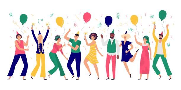 bildbanksillustrationer, clip art samt tecknat material och ikoner med människor firar. unga män och kvinnor dansar på festfest, glada ballonger och konfetti vektor illustration - sparkle teen girl