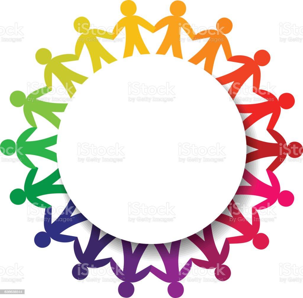 People Chain and banner - ilustración de arte vectorial