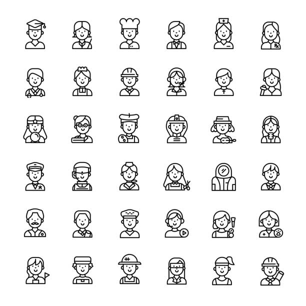 people character 36 outline icons people character 36 outline icons vector police interview stock illustrations