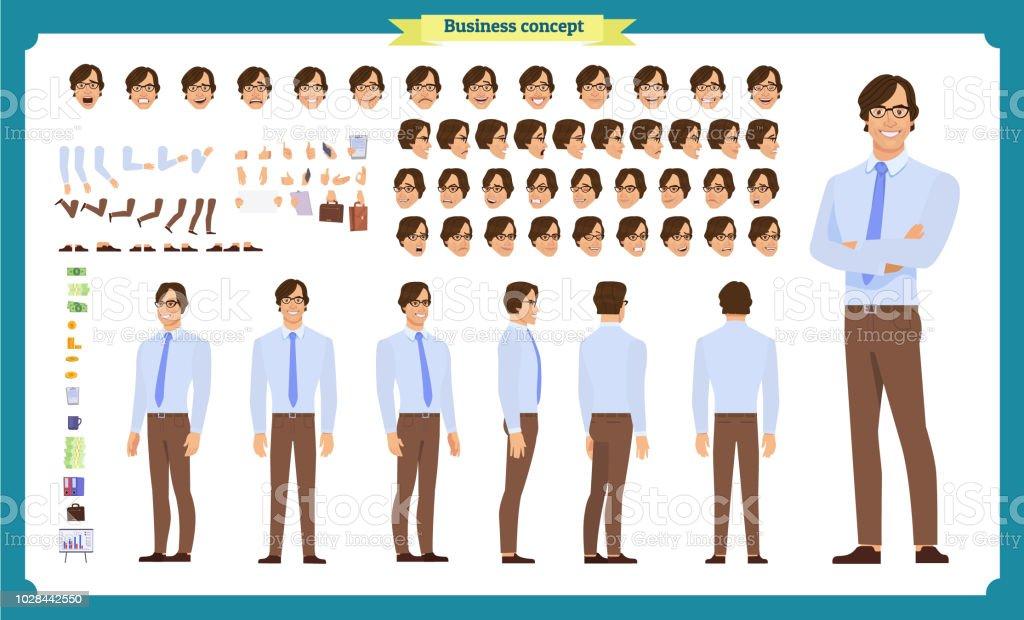Les gens affaires jeu de caractères. Avant, côté, caractère vue arrière d'animation.   Création de personnage d'homme d'affaires sertie de divers vues, les émotions du visage, les poses et les gestes. les gens affaires jeu de caractères avant côté caractère vue arrière danimation création de personnage dhomme daffaires sertie de divers vues les émotions du visage les poses et les gestes vecteurs libres de droits et plus d'images vectorielles de adulte libre de droits