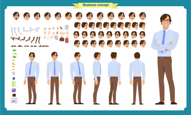 illustrazioni stock, clip art, cartoni animati e icone di tendenza di people character business set. front, side, back view animated character.   businessman character creation set with various views, face emotions, poses and gestures. - business man