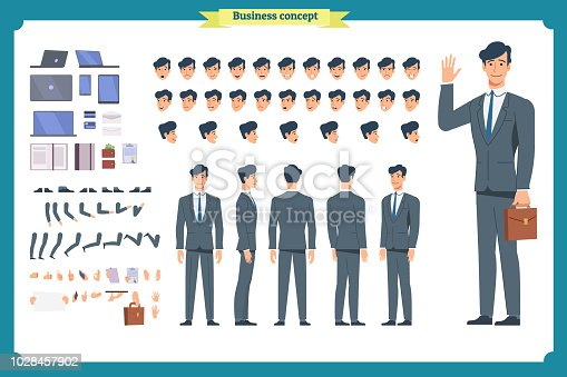 People character business set. Front, side, back view animated character. Businessman character creation set.simple, sketch, face emotions, poses and gestures.Cartoon style, flat isolated vector