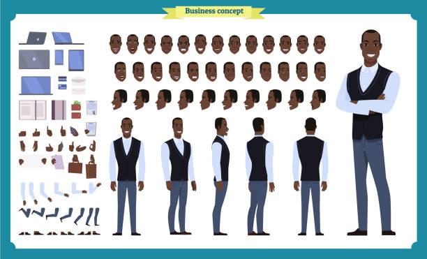 ilustrações de stock, clip art, desenhos animados e ícones de people character business set. front, side, back view animated character. black american businessman character creation set.simple, face emotions, poses and gestures.flat isolated vector - roupa descontraída