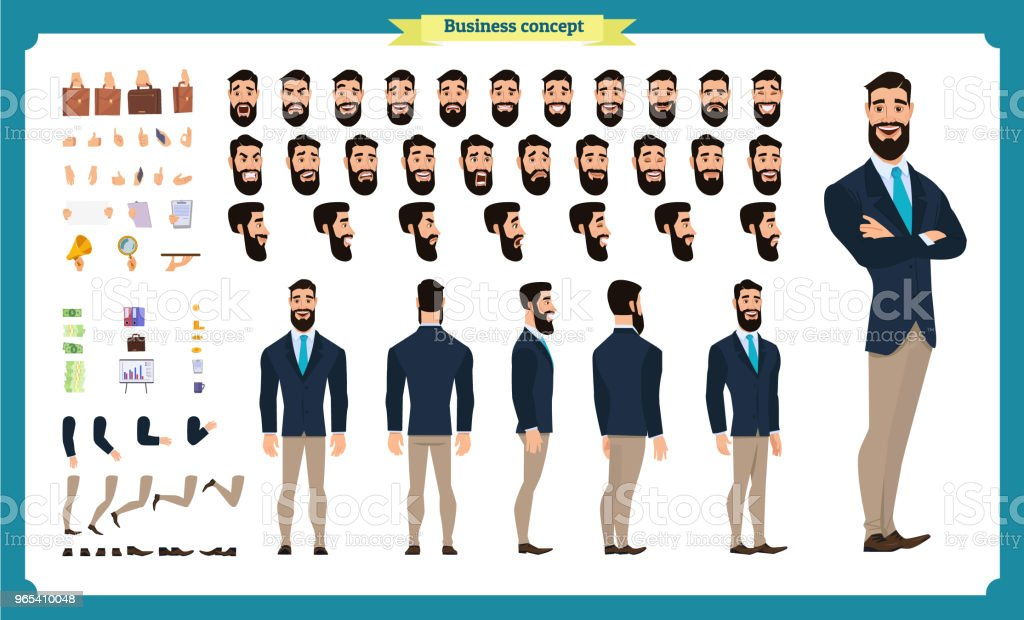 People character business set. Front, side, back view animated character. Businessman character creation set with various views, face emotions, poses and gestures. flat isolated vector people character business set front side back view animated character businessman character creation set with various views face emotions poses and gestures flat isolated vector - stockowe grafiki wektorowe i więcej obrazów biznes royalty-free