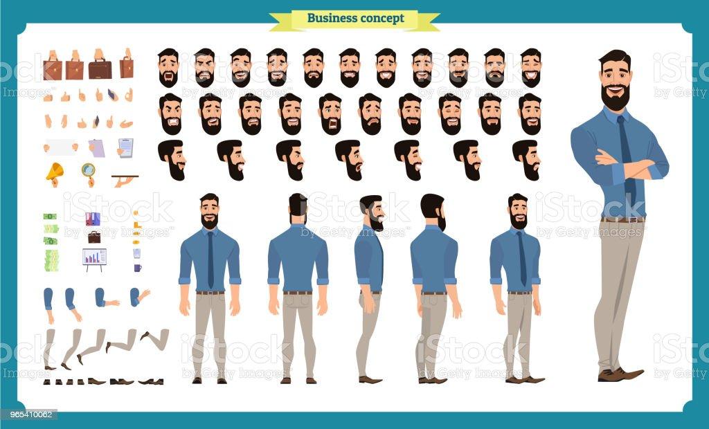 Les gens affaires jeu de caractères. Avant, côté, caractère vue arrière d'animation. Création de personnage d'homme d'affaires sertie de divers vues, les émotions du visage, les poses et les gestes. vector isolé plat - clipart vectoriel de Adulte libre de droits