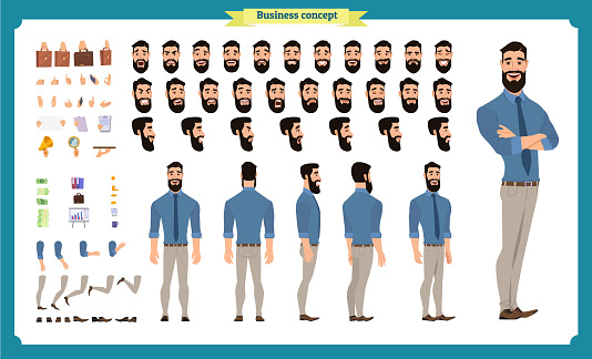 사람들이 문자 비즈니스 집합입니다 전면 측면 후면 애니메이션 캐릭터입니다 사업 캐릭터 창조와 다양 한 보기 얼굴 감정 포즈 제스처 설정 플랫 고립 된 벡터 Lip Synching에 대한 스톡 벡터 아트 및 기타 이미지