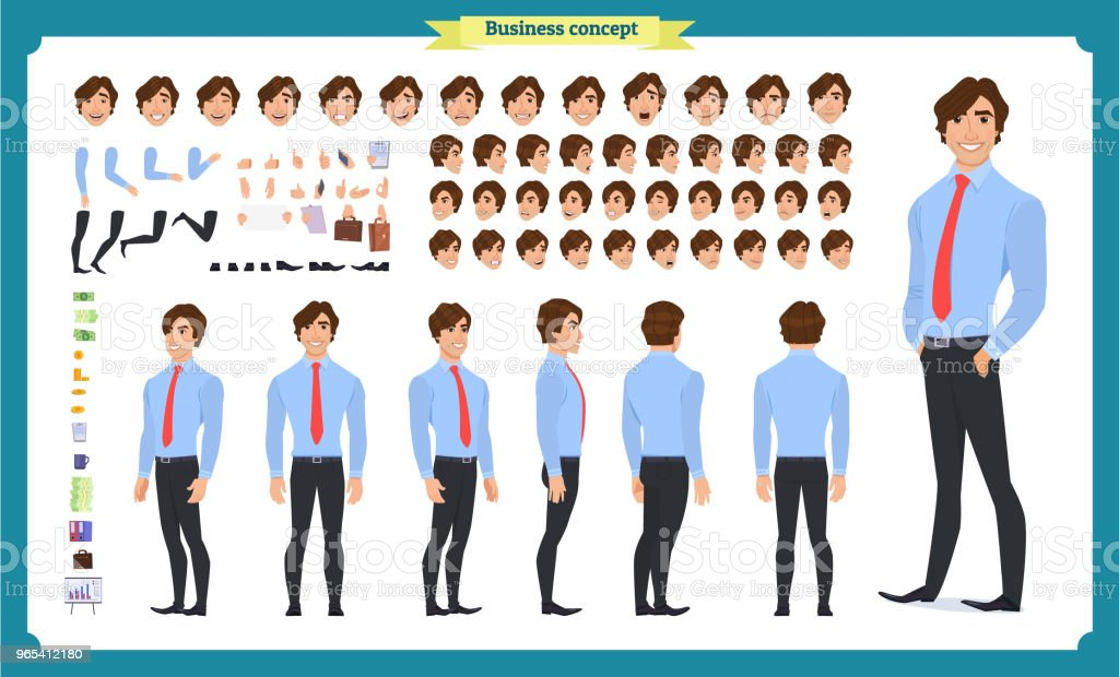 People character business set. Front, side, back view animated character. Businessman character creation set with various views, face emotions, poses and gestures. flat isolated vector royalty-free people character business set front side back view animated character businessman character creation set with various views face emotions poses and gestures flat isolated vector stock vector art & more images of adult