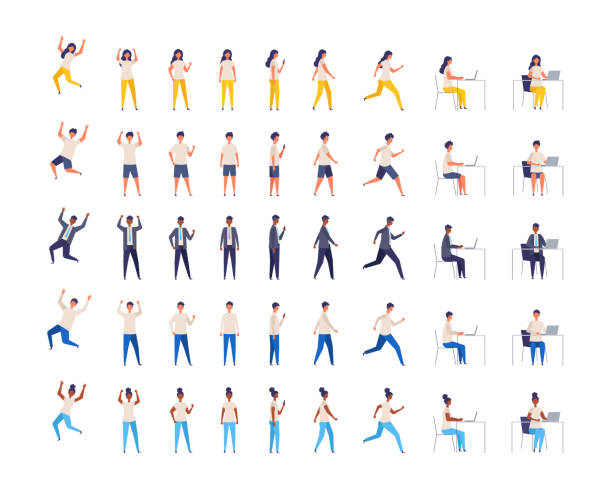 People character of various races in different poses. Vector illustration. full length. Set of men and women from different races in different poses. Working, standing, walking, sitting , running and jumping. Vector illustration in flat style. full length. one person stock illustrations