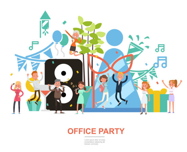 people character vector design. office party concept. for background, banner, website and landing page. - office party stock illustrations, clip art, cartoons, & icons