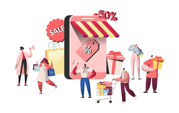 ilustrações de stock, clip art, desenhos animados e ícones de people characters buying in online store and smartphone screen. website shopping, mobile marketing concept, e-commerce. man and woman making purchase. vector illustration - online shopping
