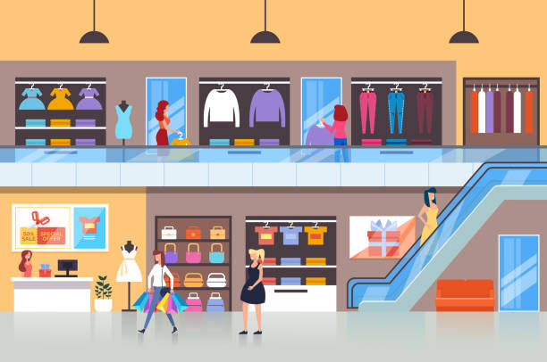 ilustrações, clipart, desenhos animados e ícones de pessoas personagens consumidores fazendo compras no shopping. ilustração isolada do projeto gráfico dos desenhos animados lisos do vetor - shopping