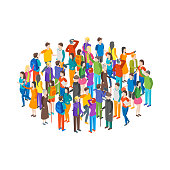 People Characters Crowd Circle Isometric View Different Types Social Man and Woman for Report, Research. Vector illustration