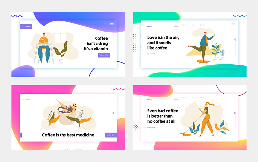 People Characters Drinking Coffee Landing Page Set. Man Skateboarding with Cup of Tea. Woman Walking with Dog and Hot Drink. Guy on Coffee Break Website, Banner. Vector flat cartoon illustration