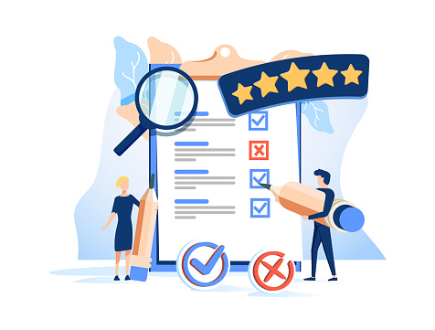 People Characters Filling Test in Customer Survey Form. Woman and Man putting Check Mark on Checklist. Customer Experiences and Satisfaction Concept. Flat Isometric Vector Illustration. A B tests