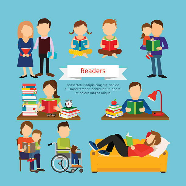 people characters reading book or magazines - schulstühle stock-grafiken, -clipart, -cartoons und -symbole