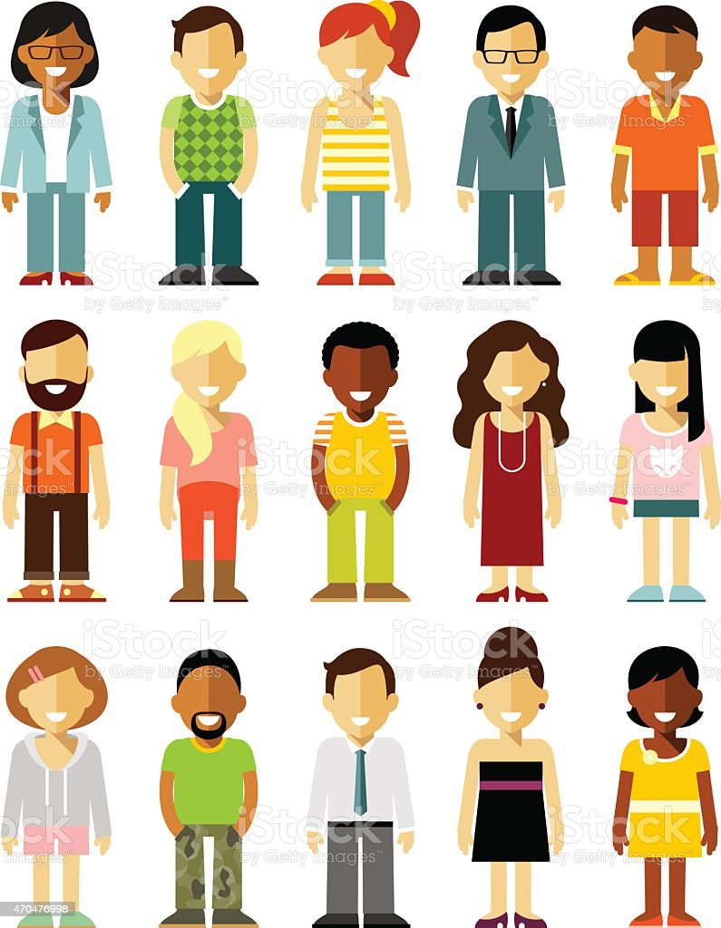 People characters set in flat style isolated on white background vector art illustration