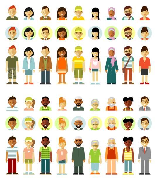 bildbanksillustrationer, clip art samt tecknat material och ikoner med personer tecken stående grupp set - helkroppsbild
