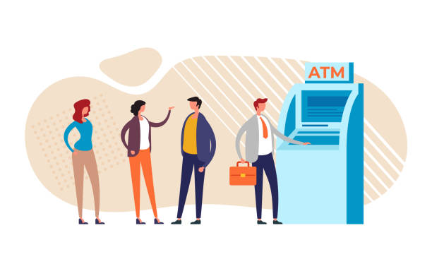Personen Zeichen warten ATM-Zeile. Vektor-Grafik-Design flache Cartoon-Illustration – Vektorgrafik