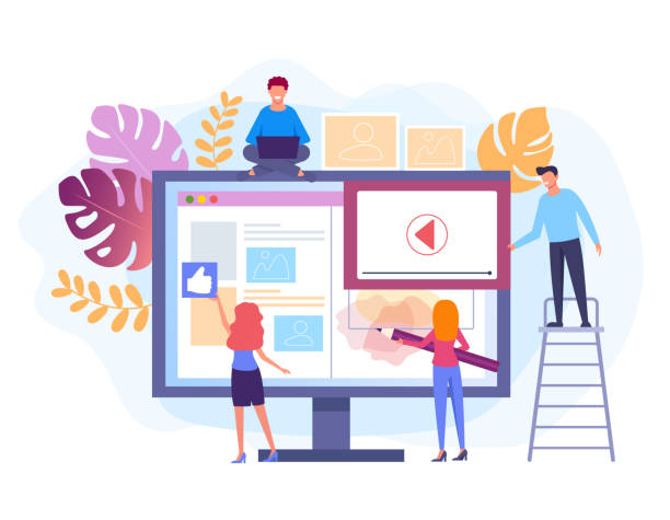 People characters working at web site project. Web development concept. Vector flat graphic design isolated illustration vector art illustration