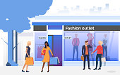 People chatting and carrying bags near shop window. People choosing and buying clothes in shop. Fashion outlet, boutique concept. Vector illustration for topics like business, shopping, sale
