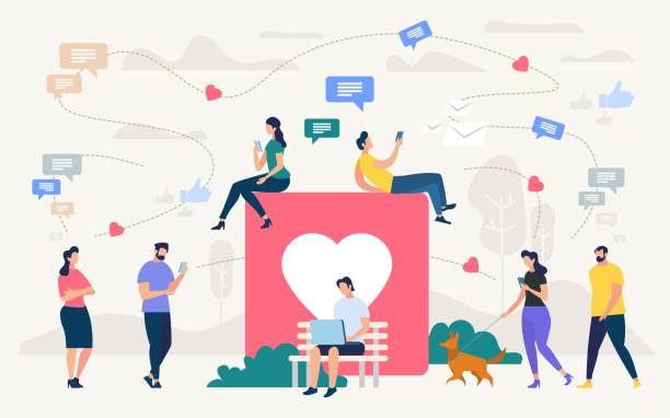 People Chatting in Social Network Vector Concept Social Network Community, Digital Marketing Flat Vector Concept. People with Cellphones, Laptop Chatting Online, Working in Internet Outdoors, Walking in Park, Messaging in Social Network Illustration online dating stock illustrations