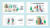 Diverse People Check in Hostel Landing Page Template Set. Tourist Characters Move into Motel for Staying at Night, Cheap Accommodation for Students or Travelers, Guesthouse. Linear Vector Illustration